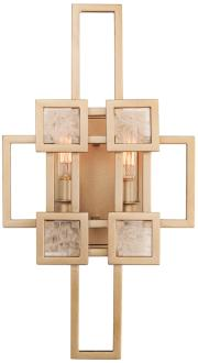 "Metropolis 17 1/2"" High Modern Gold 2-Light Wall Sconce (1P583) 1P583"