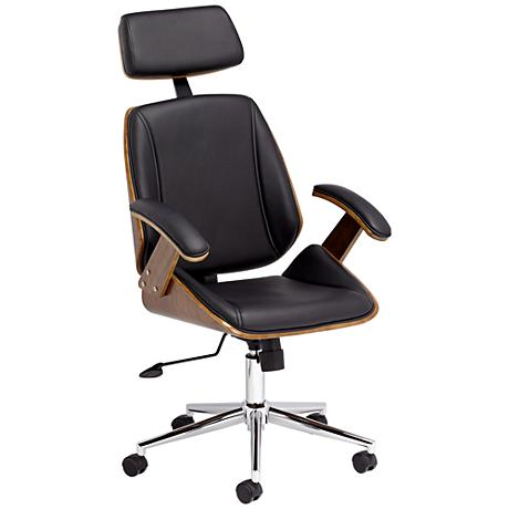 tatulli modern black faux leather office chair 1p605