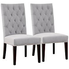 Villa Uptown Fog Velvet Dining Chair Set of 2