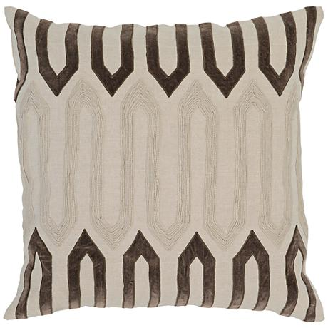 "Modern Chic Brown 22"" Square 3-Tone Linen Accent Pillow"