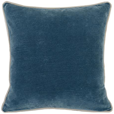 "Grandeur Marine18"" Square Cotton Velvet Accent Pillow"