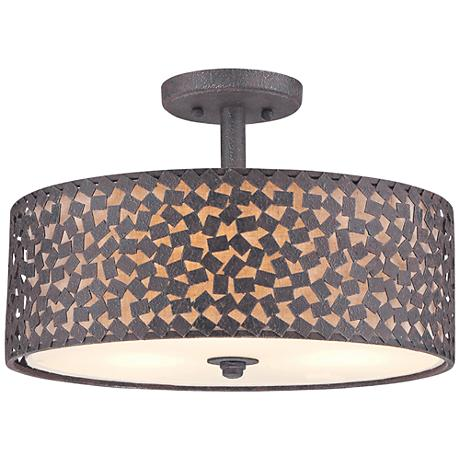 "Quoizel Confetti 17"" Wide Rustic Black Ceiling Light"