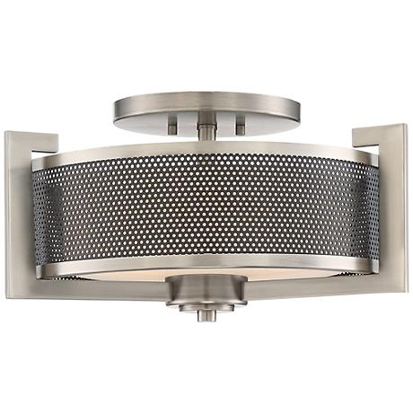 "Quoizel Metropolis 18"" Wide Antique Nickel Ceiling Light"