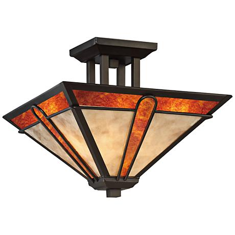 "Quoizel Pearce 15"" Wide Terra Bronze Ceiling Light"