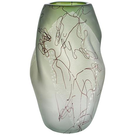 "Viz Glass Squiggle Silver 15"" High Art Glass Vase"