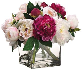 "Grand Peony and Pink Rose 15""W Faux Flowers in Glass Vase (1R004) 1R004"