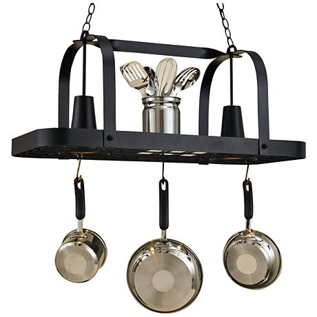 "Baker 36"" Wide 2-Light Black Leather Pot Rack Chandelier"