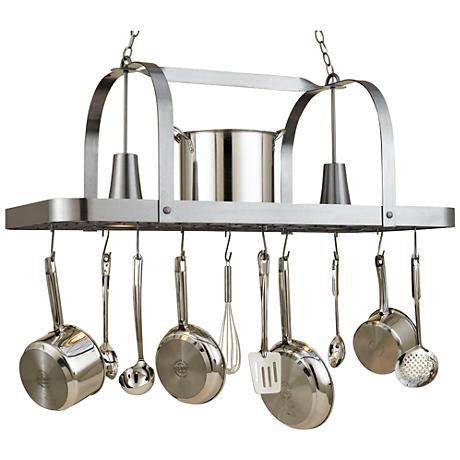 "Baker 44"" Wide 2-Light Satin Steel Pot Rack Chandelier"