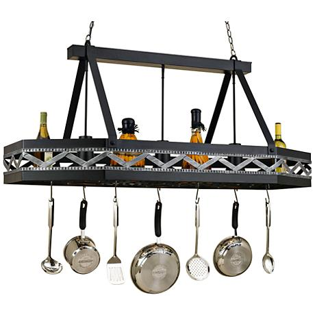 "Sonoma 55"" Wide 3-Light Black Leather Pot Rack Chandelier"