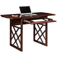 Leick Chocolate Oak Wood Drop Leaf Computer Writing Desk