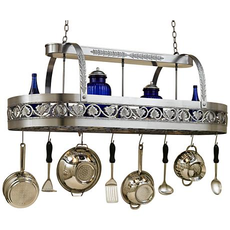 "Sandra Lee Leaf 55"" Wide Satin Steel Pot Rack Chandelier"