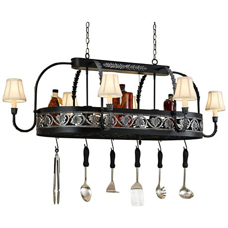 "Sandra Lee Leaf 58""W Black Leather Pot Rack Chandelier"