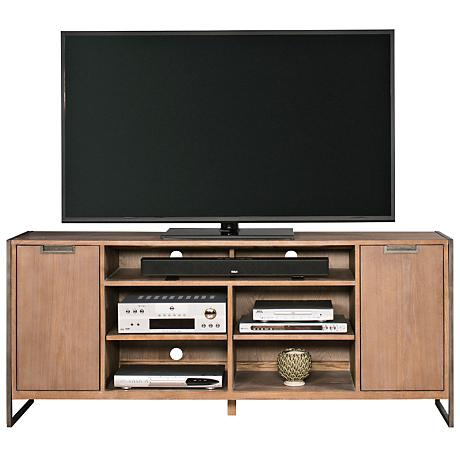 Belmont Rustic Wire Brush Ash 2-Door Open Center TV Stand