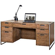 Belmont Rustic Wire Brush Ash 7-Drawer Executive Desk