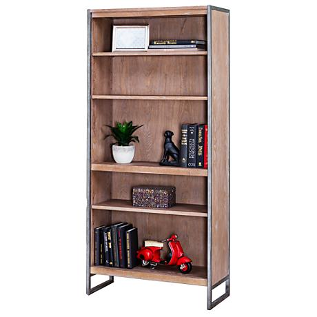 "Belmont Rustic Wire 30"" Wide Brush Ash Bookcase"