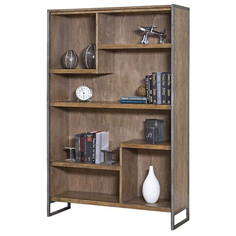 "Belmont Rustic Wire 42"" Wide Brush Ash Bookcase"