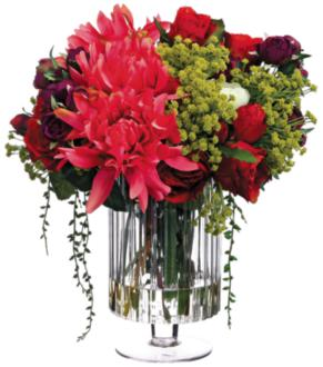 "Dahlia and Red Rose 16""W Faux Flowers in Clear Glass Vase (1R300) 1R300"