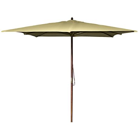 La Jolla Khaki 8 1/2' Wooden Square Market Umbrella