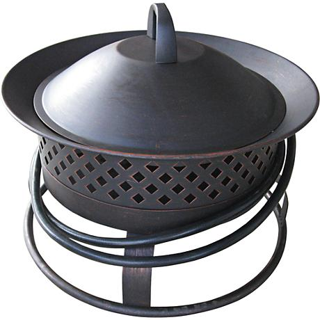 Aurora Rubbed Bronze Steel Gas Firebowl