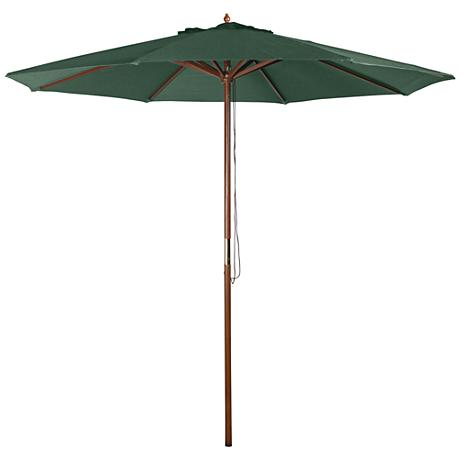 Hunter Green 9' Wood Market Umbrella