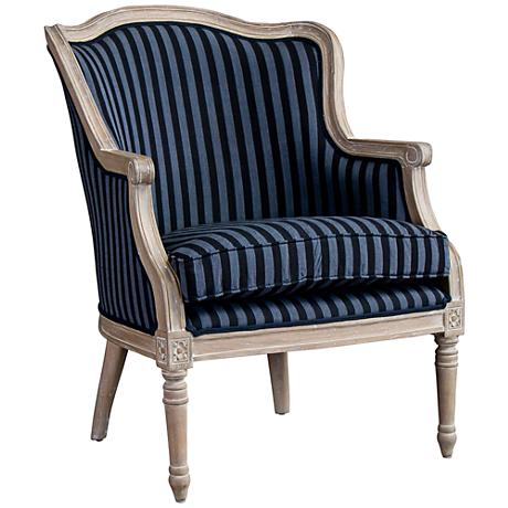 Baxton Studio Charlemagne Light Blue Stripes Accent Chair