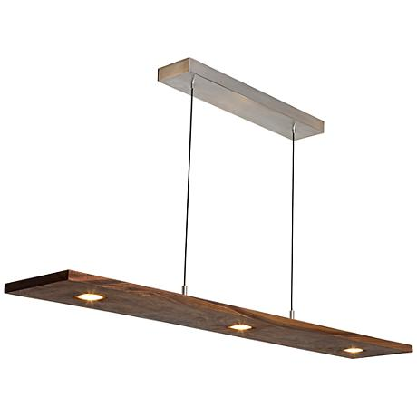 "Cerno Vix 34"" Wide Oiled Walnut LED Island Pendant"