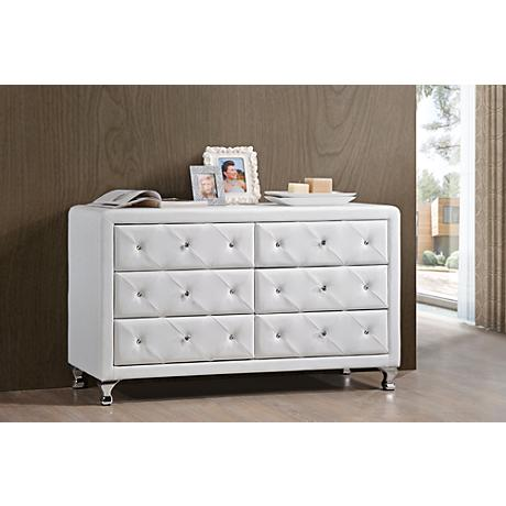 Luminescence White Faux Leather 6-Drawer Dresser