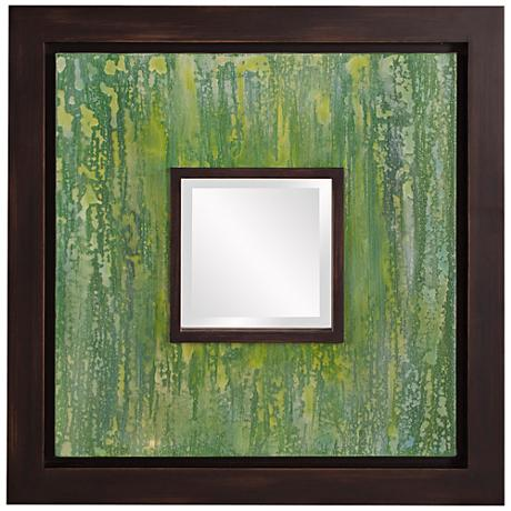 "Howard Elliott Monet Green Canvas 24"" Square Wall Mirror"