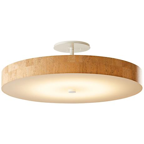 "Hubbardton Forge Disq 23""W White and Cork LED Ceiling Light"