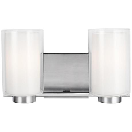 "Feiss Bergin 2-Light 13 1/2"" Wide Satin Nickel Bath Light"