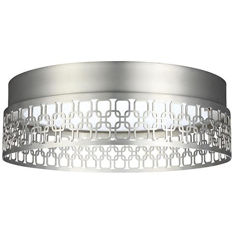 "Feiss Amari Links 13"" Wide Satin Nickel LED Ceiling Light"