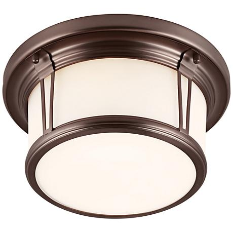 "Feiss Woodward 13 1/4""W Chocolate Round LED Ceiling Light"