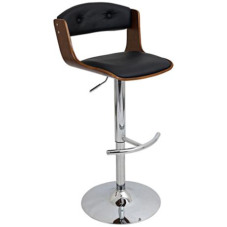 Scucci Mid Century Black Faux Leather Adjustable Barstool