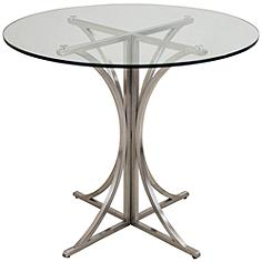 Boro Brushed Steel Round Tempered Dining Table
