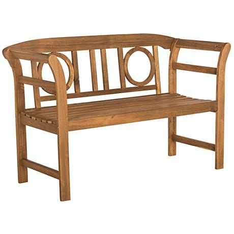 Franz Teak Brown Wood 2-Seat Outdoor Bench