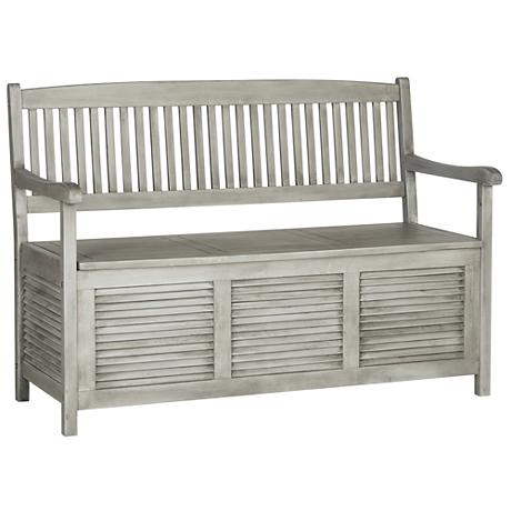 Westmore gray wood outdoor storage bench 1t830 Gray storage bench