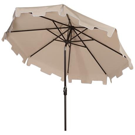 Zimmerman Beige 9' Aluminum Market Umbrella with Flap