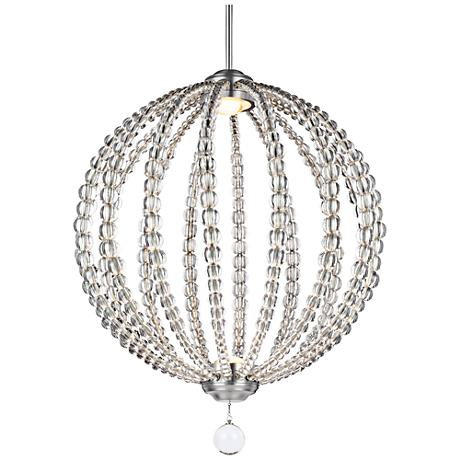 "Feiss Oberlin 20""W Satin Nickel 2-Light LED Orb Pendant"