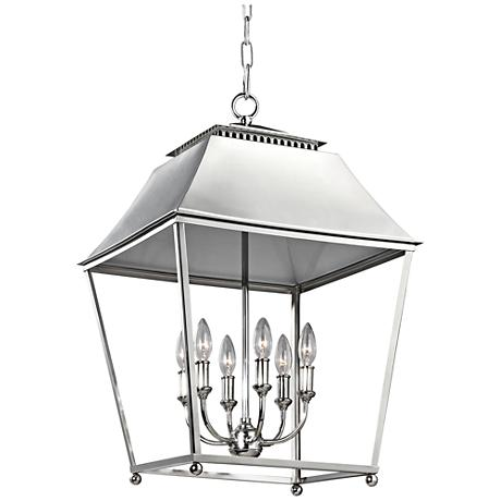 "Feiss Galloway 18 1/2"" Wide Nickel 6-Light Foyer Pendant"