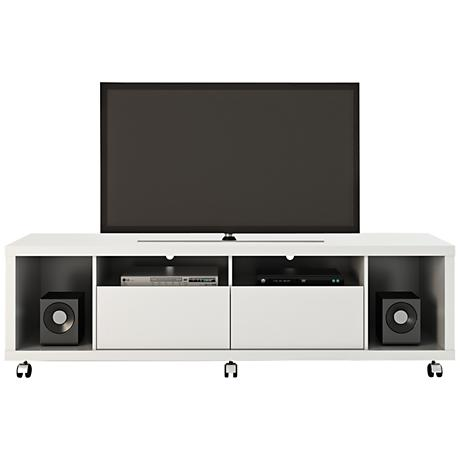 Cabrini 1.8 White Gloss Wood 2-Drawer TV Stand