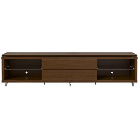 Lincoln 2.4 Nut Brown 2-Drawer TV Stand with Silicon Casters