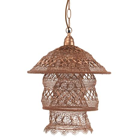 "Jamie Young Brocade 22"" Wide Copper Pagoda Pendant Light"