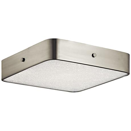 "Crystal Moon Nickel 15 3/4"" Wide LED Square Ceiling Light"