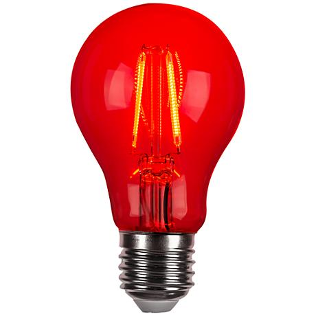 Red 4 Watt LED A19 Filament Party Light Bulb