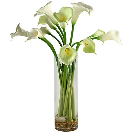 "Calla Lilies 27"" High Faux Flowers in Tall Glass Vase"
