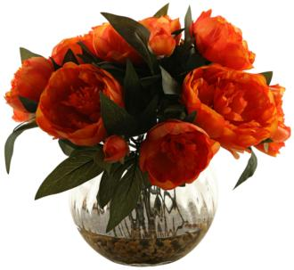 "Orange Peonies 14"" High in Glass Ball Vase (1V946) 1V946"