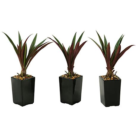 "Green and Burgundy Lily Grass 16""H in Set of 3 Planters"