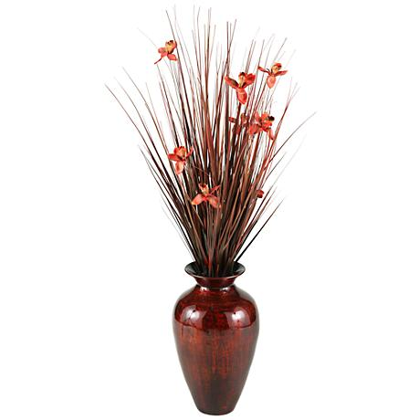 "Brown Ting with Burgundy Blossoms 56"" H in Spun Bamboo Vase"