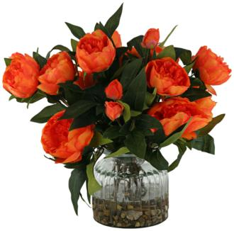 "Orange Peonies 15"" High in Ribbed Glass Vase (1W006) 1W006"