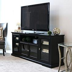Cass Highboy Style Black Wood 4-Door TV Stand